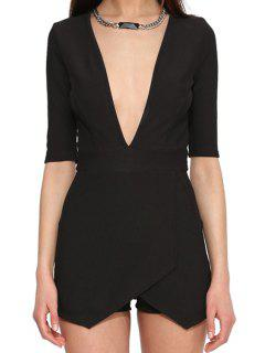 Black Plunging Neck Half Sleeve Romper - Black L