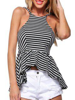 Spaghetti Strap Striped Open Back Swallow-Tailed Tank Top - Black L