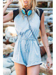 Color Block Tie-Up Short Sleeve Romper - Blue M