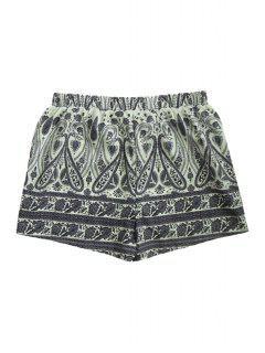 Elastic Waist Paisley Print Laciness Shorts - M