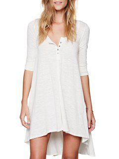 Solid Color Loose-Fitting Half Sleeve Dress - White M