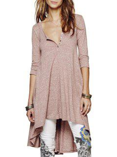 Solid Color Loose-Fitting Half Sleeve Dress - Brown S