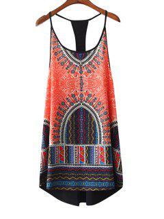 Colorful Geometric Print Spaghetti Strap Dress - L