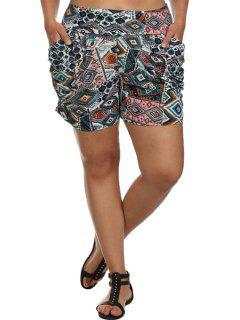 High-Waisted Argyle Print Pocket Design Shorts - S