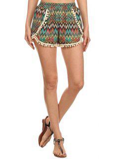 Laciness Spliced Chevron Stripes Shorts - S
