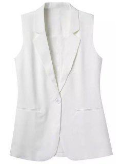 Lapel Pocket Solid Color Sleeveless Waistcoat - White M