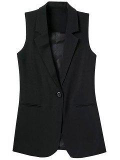 Lapel Pocket Solid Color Sleeveless Waistcoat - Black L