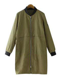 Solid Color Stand Neck Coat - Army Green Xl