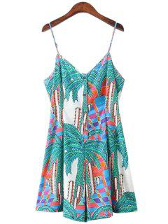 Spaghetti Strap Palm Tree Print Sleeveless Romper - Xl