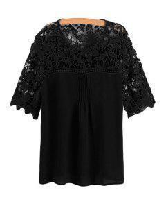 Lace Spliced Crochet Flower Chiffon Blouse - Black Xl