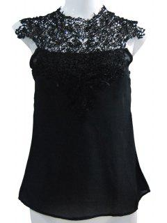 Stand-Up Collar Lace Splicing Backless Tank Top - Black 2xl