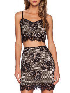 Spaghetti Strap Floral Pattern Lace Tank Top + Skirt - Black Xl