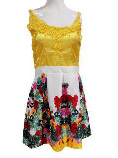 Flower Print Spaghetti Straps Flare Dress - Xl