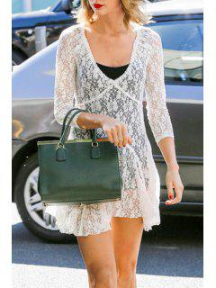 See-Through 3/4 Sleeve Lace Dress - White Xl