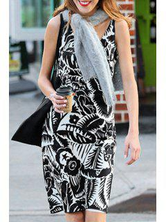 V-Neck Floral Leaves Print Sleeveless Dress - White And Black Xl