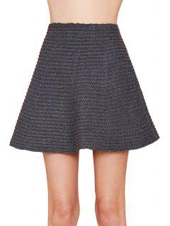 Gray High Waisted A Line Knit Skirt - Gray S