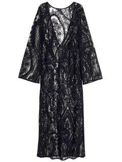 See-Through Long Sleeve Lace Maxi Dress - Black M