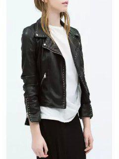 Rivet Embellished PU Leather Long Sleeve Jacket - Black S