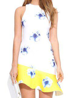 Floral Flouncing Spliced Sleeveless Dress - White M
