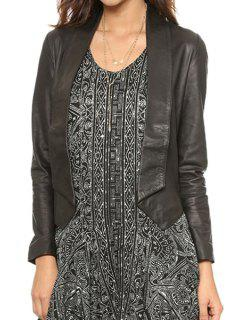 PU Leather Long Sleeve Backless Jacket - Black L