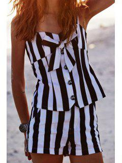 Sweetheart Neck Bowknot Embellished Tank Top + Striped Shorts Twinset - White And Black Xl