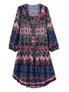 Argyle Color Block Printed 3/4 Sleeve Dress - L