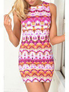 Printed Back Zipper Sleeveless Dress - Pink S