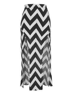 Zig Zag Pattern Slit Skirt - Black S