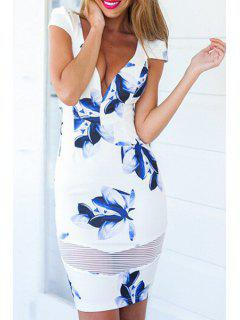 Plunging Neck Floral Print Spliced Bodycon Dress - Blue And White M