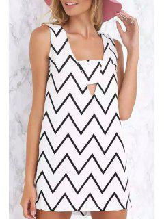 Square Collar Zig Zag Hollow Out Sleeveless Dress - White L