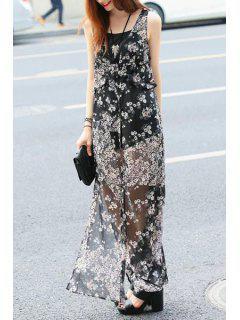 Tiny Floral Print Slit Sleeveless Dress - Black S