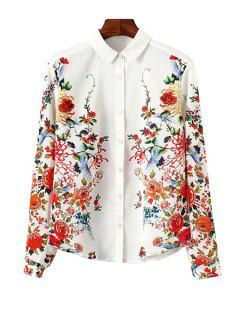 Shirt Collar Long Sleeve Flower Print Single-Breasted Shirt - White L