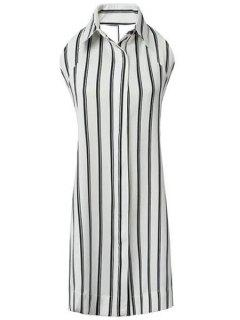 Polo Collar Backless Tie Knot Stripe Dress - White And Black L