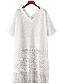 Lace Splicing See-Through Fringe Dress - White