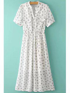 Umbrella Print Short Sleeve Dress - White L