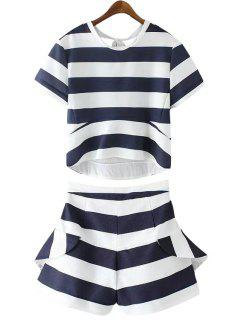 Stripe Tie-Up T-Shirt + Flounce Splicing Shorts - Blue And White M