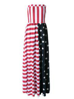 American Flag Print Strapless Maxi Dress - Red S