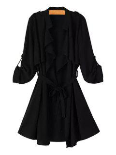 Long Sleeve Flouncing Tie-Up Chiffon Trench Coat - Black M