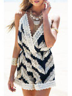 Straps Stripes Crossed Back Playsuit - White And Black M
