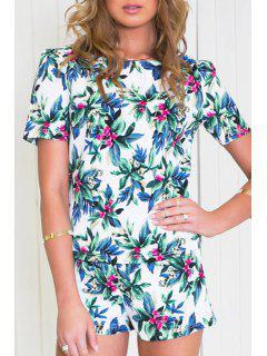 Floral Leaves Print Short Sleeve T-Shirt + Shorts - Xl