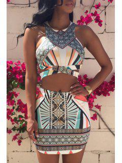 Argyle Printed Sleeveless Tank Top + Stripe Skirt - Xl