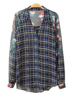 Plaid Print Long Sleeve Chiffon Shirt - Green L