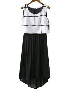 Chiffon Checked Spliced Sundress - White And Black M