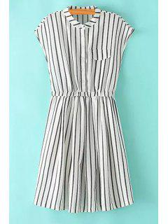 Striped Stand Neck Sleeveless Dress - Stripe L