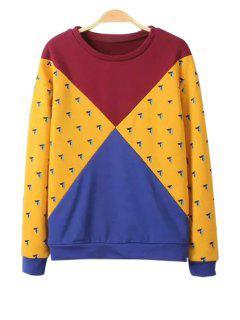 Jewel Neck Color Block Splicing Sweatshirt - Xs