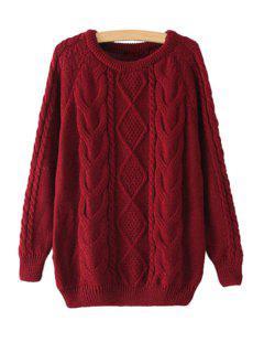 Jewel Neck Argyle Plait Long Sleeve Sweater - Wine Red