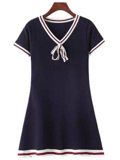 Stripe Short Sleeve Knit Flare Dress - Cadetblue
