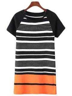 Stripes Spliced Short Sleeve Sweater Dress - Black