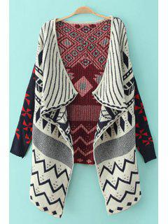 Golilla Argyle Pattern Zig Zag Long Sleeve Cardigan - Blue