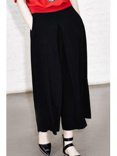 Solid Color Loose Fitting Zipper Fly Pants - Black M